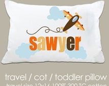 Personalized airplane travel or toddler pillow and pillowcase