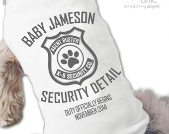 Big brother or sister dog shirt - big brother to be security detail pregnancy announcement dog Tshirt