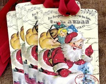 Retro Santa Claus Chimney Christmas Tags #296