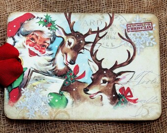 Retro Santa Claus Reindeer Christmas Tags #557