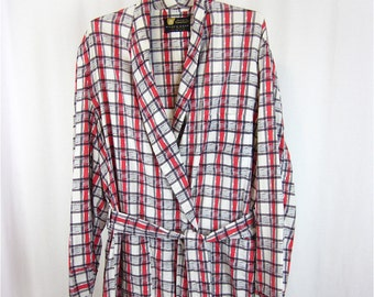 Vintage 60s Mens Cotton Plaid Robe