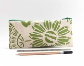 Green Pencil Case, Gift for Teachers, Back to School, Organic cotton Zipper Pouch, Canvas Pencil Case, Screen Print Pencil Pouch