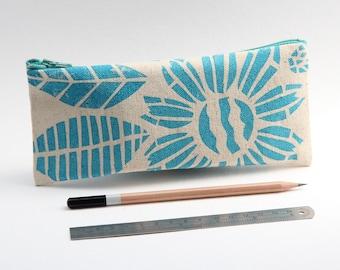 Organic Cotton Pencil Case - Turquoise Floral Motif