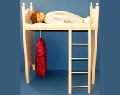American Girl Doll Loft Bed with Ladder and Wardrobe Clothes Rack