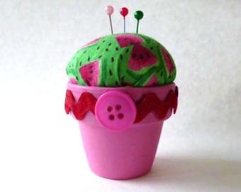 Watermelon Pink and Green Mini Flowerpot Pincushion