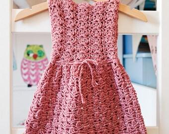 Crochet PATTERN - Scalloped Neckline Lace Dress (baby, toddler, child sizes),