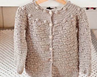 Instant download - Crochet Cardigan PATTERN (pdf file) - Wavy Cardigan (sizes 6/12months,2/3,4/5,7/8 years)