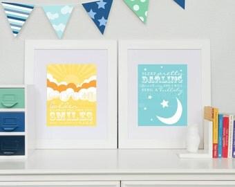 Beatles Nursery Prints // Golden Slumbers, Quote by The Beatles // Set of 2 Nursery / Kids Art Prints // N-G04-2PS AA1