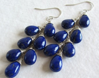 Cobalt Blue Lapis Earrings - Natural Gemstone Jewelry - Smooth Pear Shaped Stones - Long Layer Earrings 7