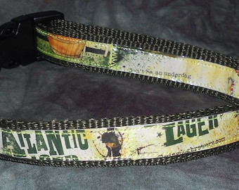 Adjustable Dog Collar from recycled Flying Dog Brewery Underdog Atlantic Lager Beer Labels