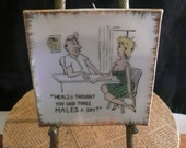 Risqué Wall Hanging Square Plate 1960 Naughty Vintage