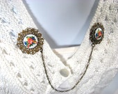 Sweater Guard Painted Glass Cabochons Linked Chain Cardigan Clip
