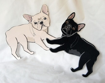 French Bulldog Paper Dolls - Set of 2