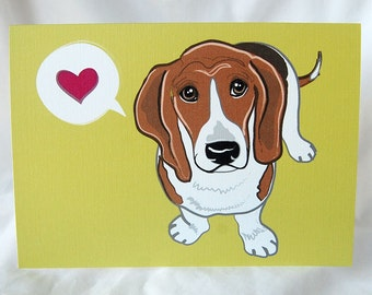Bashful Bassett Hound Greeting Card