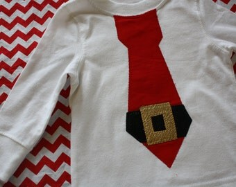 Christmas Shirt for Boys, Holiday Photo Shoot Outfit, Sibling Shirts, Santa Claus Shirt, Tie Shirt for Boys, Made to Order, Christmas Party