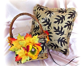 Burlap ring bearer pillow, rustic flower girl basket, Fall leaves wedding accessories