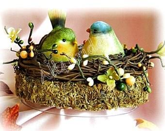 Wedding Love Birds nest rustic cake topper, woodland or garden wedding cake decoration.