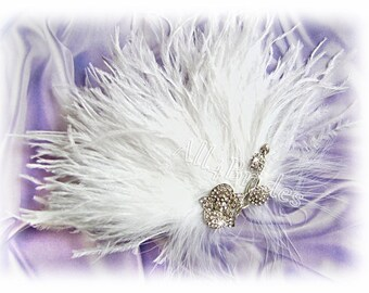 Ostrich Feathers Bridal Fascinator with Fancy Orchid Rhinestone Brooch, Bridal Hair Accessories