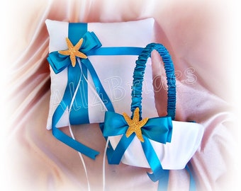 Beach wedding starfish and turquoise ring bearer pillow and flower girl basket