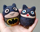 Two Needle Felted  Wool Superhero Jingle Bell Toys Made to Order