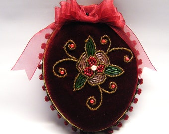 Velvet Beaded Foral Oval Pin Cushion Ornament