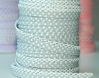 Double fold picot crochet edge bias tape, crochet bias tape, picot edge bias tape, lace bias tape, grey bias tape, polka dot bias tape