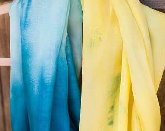 Turquoise & Yellow Ombre Silk Chiffon 57-in Infinity Circle Scarf/Cowl Gift for Her