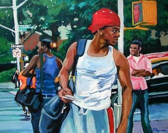 Black Men Art Print African American Painting Ethnic Urban NYC Greenwich Village by Gwen Meyerson