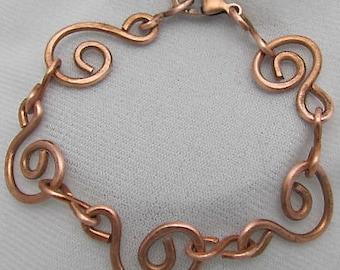 Copper Bracelet. Copper Circles of Life Bracelet. Spiral Bracelet. ONSALE.