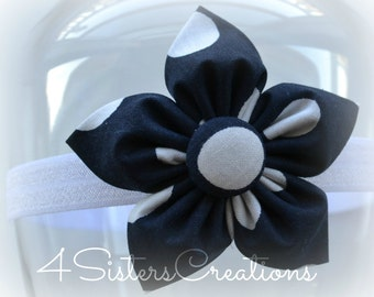 Back to School Uniform Fabric Flower - Navy with White Dot with Headband options