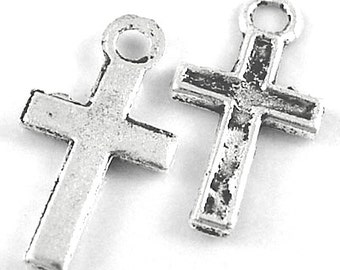 48 Simple Cross Charms, Classic Silver (5980)
