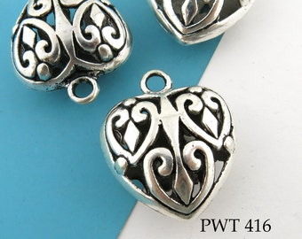 Large Filigree Heart Charm Hollow Heart Pewter Charm 21mm (PWT 416) BlueEchoBeads 2 pcs