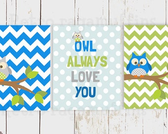 Owl Always Love You Nursery Art  Print Various Sizes Boys Room Decor