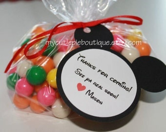 Mickey Mouse Goody Bag Tags ~ Personalized Mickey or Minnie Mouse Goody Bag Tags