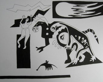 Demise of the dinosaurs, rise of the mammals, A3, 11.7 x 16.5ins, 29.7 x 42cm