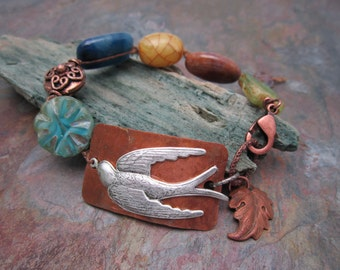 Artisan Sparrow Bracelet with Semi Precious Beads with Czech Glass, Free Shipping in the USA, Ready to ship