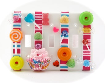 Candy Land Wall Plate Fake Cupcake Single 3 Gang Light Switchplate 12 Legs Orginal Concept/Design Cupcakes On the Wall Other Gangs Available