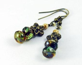 Green Topaz Beaded Earrings