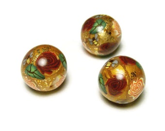 Handmade Beads Polymer Clay Three Round Crazed Gold Leaf DIY Red Rose Bee Leaf Canework Bead Supplies Sweetchild Jewelry 15 mm