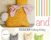 Bunny Kitty Pillow Sewing PAttern Modern Folksy Bunny and Kitty PDF Sewing Pattern