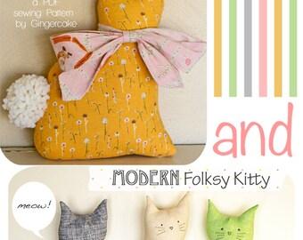 Bunny Kitty Pillow Sewing PAttern Modern Folksy Bunny and Kitty PDF Sewing Pattern