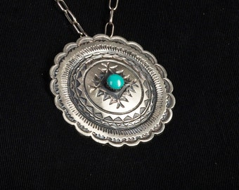 Navajo Turquoise Pin / Pendant - Signed - Traditional Repousse Concho - Best Buy