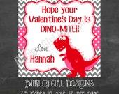 Girly Dinosaur Favor Tags - DIY - Digital FIle - Valentine's Day Tag
