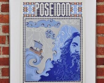 Limited Edition Poseidon God of the Sea Letterpress Linocut Print
