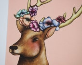 Illustrated Floral Deer Postcard