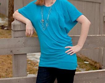 Womens Asymmetrical Drape Top (XS-5X) Downloadable .PDF Sewing Pattern & E-Book