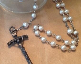 White Pearl Rosary With Relic Catholic Prayer Beads