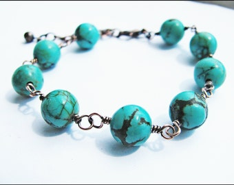 Genuine Chinese Turquoise and Copper Bracelet