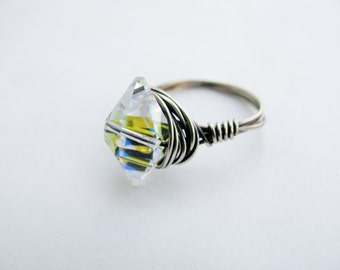 Swarovski Double Spike and Sterling Silver Filled Wire Wrapped Ring