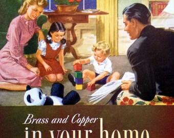 1945 Living Room Family Illustartion Magazine Home Appliance Cover